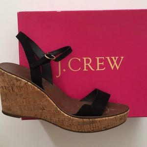 Jcrew cork wedge with suede straps